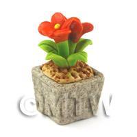 Miniature Handmade Dark Orange Coloured Ceramic Flower (CFDO8)