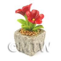 Miniature Handmade Red Coloured Ceramic Flower (CFR7)
