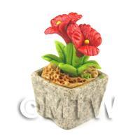 Miniature Handmade Red Coloured Ceramic Flower (CFR2)