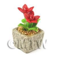 Miniature Handmade Red Coloured Ceramic Flower (CFR14)