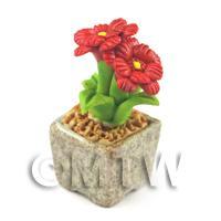 Miniature Handmade Red Coloured Ceramic Flower (CFR9)