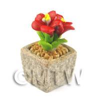 Miniature Handmade Red Coloured Ceramic Flower (CFR4)
