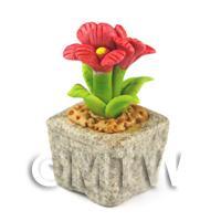 Miniature Handmade Red Coloured Ceramic Flower (CFR15)
