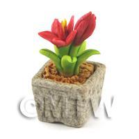 Miniature Handmade Red Coloured Ceramic Flower (CFR10)