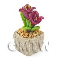 Miniature Handmade Purple Coloured Ceramic Flower (CFPU9)