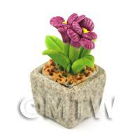 Miniature Handmade Purple Coloured Ceramic Flower (CFPU7)