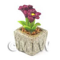 Miniature Handmade Purple Coloured Ceramic Flower (CFPU8)