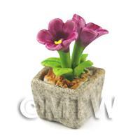 Miniature Handmade Purple Coloured Ceramic Flower (CFPU6)