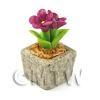 Miniature Handmade Purple Coloured Ceramic Flower (CFPU11)