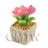 Miniature Handmade Pink Coloured Ceramic Flower (CFP9)