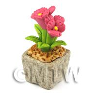 Miniature Handmade Pink Coloured Ceramic Flower (CFP6)