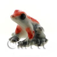 Dolls House Miniature Ceramic Gray and Orange Tree Frog