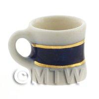 Dolls House Miniature Blue and Metallic Gold Shaped Mug