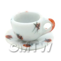 Dolls House Miniature Red Spot Design Ceramic Teacup and Saucer