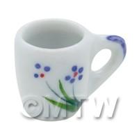 Dolls House Miniature Purple Simple Flower Design Ceramic Mug