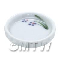 Dolls House Miniature Purple Simple Flower Design Ceramic Flan Dish