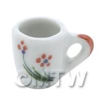 Dolls House Miniature Orange Flower Design Ceramic Mug