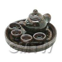 Dolls House Handmade Shiny Metallic Ceramic Tea Set