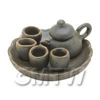 Dolls House Handmade Matt Metallic Ceramic Tea Set