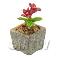 Miniature Handmade Red Coloured Ceramic Flower (CFR16)