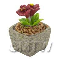 Miniature Handmade Red Coloured Ceramic Flower (CFR17)