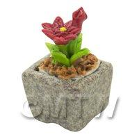 Miniature Handmade Red Coloured Ceramic Flower (CFR18)