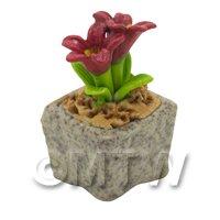 Miniature Handmade Red Coloured Ceramic Flower (CFR20)