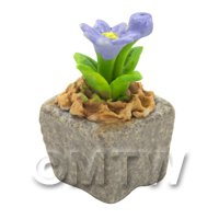 Miniature Handmade Violet Coloured Ceramic Flower (CFV18)