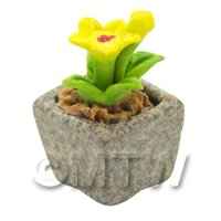 Miniature Handmade Yellow Coloured Ceramic Flower (CFY15)