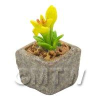 Miniature Handmade Yellow Coloured Ceramic Flower (CFY16)