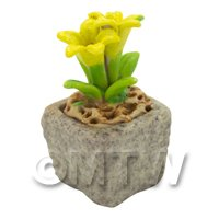 Miniature Handmade Yellow Coloured Ceramic Flower (CFY17)