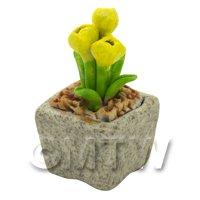 Miniature Handmade Yellow Coloured Ceramic Flower (CFY18)