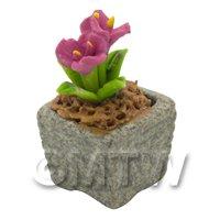 Miniature Handmade Pink Coloured Ceramic Flower (CFP15)