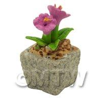 Miniature Handmade Pink Coloured Ceramic Flower (CFP16)