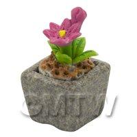 Miniature Handmade Pink Coloured Ceramic Flower (CFP17)