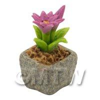 Miniature Handmade Pink Coloured Ceramic Flower (CFP18)