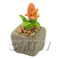 Miniature Handmade Orange Coloured Ceramic Flower (CFO12)