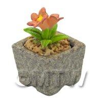 Miniature Handmade Orange Coloured Ceramic Flower (CFO13)