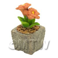 Miniature Handmade Orange Coloured Ceramic Flower (CFO14)