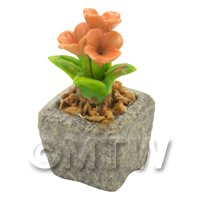 Miniature Handmade Orange Coloured Ceramic Flower (CFO15)