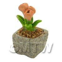 Miniature Handmade Orange Coloured Ceramic Flower (CFO16)