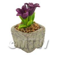 Miniature Handmade Purple Coloured Ceramic Flower (CFPU15)