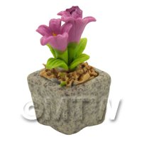 Miniature Handmade Pink Coloured Ceramic Flower (CFP19)