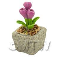 Miniature Handmade Pink Coloured Ceramic Flower (CFP20)