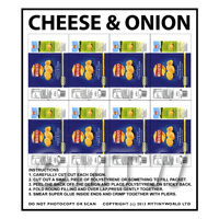 1/12th scale - Dolls House Miniature Packaging Sheet of 8 Walkers Cheese & Onion Crisps