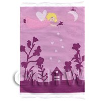 Dolls House Miniature Small Pink Fairy Scene Childrens Rug