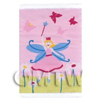 Dolls House Miniature Small Pink Fairy In Daisies Childrens Rug