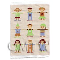 Dolls House Miniature Small Childrens Rug With 9 Stylised Children