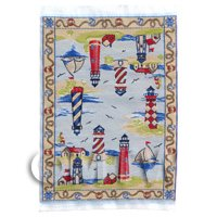 Dolls House Miniature Small Childrens Rug With Lighthouse Scenes