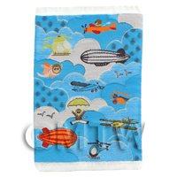 Dolls House Miniature Small Childrens Rug With Flying Machines